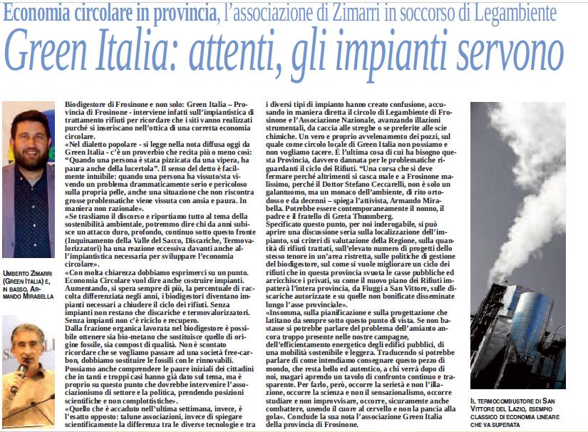 Biodigestore Frosinone - La nota di Green ITalia